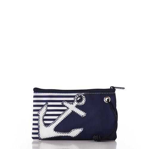 Breton Stripe White Anchor Wristlet
