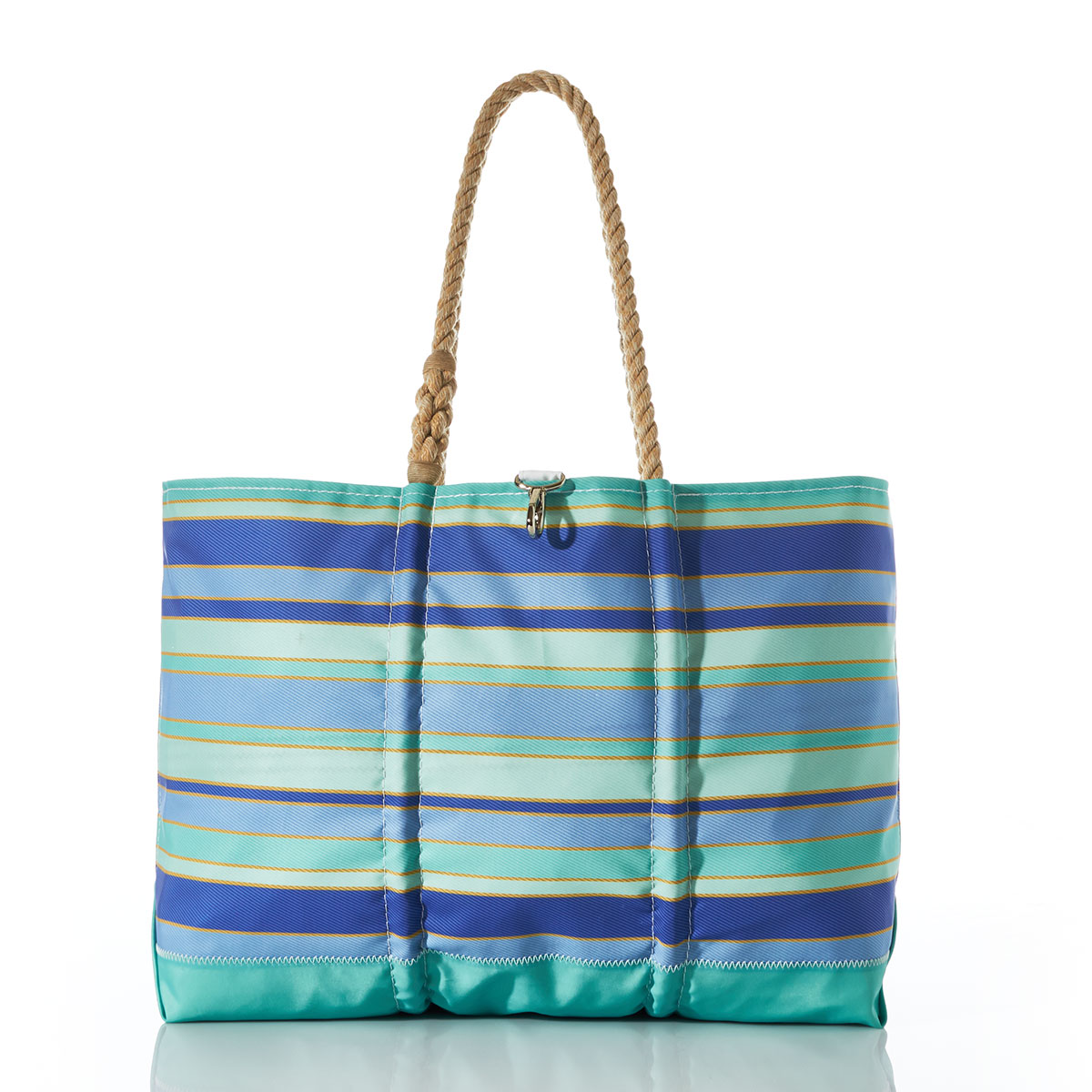 stripes of shades of blues are printed on this recycled sail cloth tote, with a seafoam green bottom and hemp rope handles