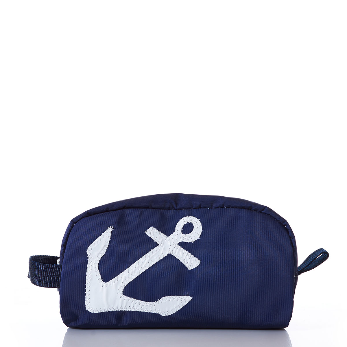 White-on-Navy Anchor Toiletry Bag