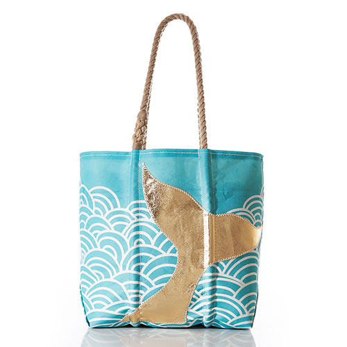Gold Mermaid Tail on Aquamarine Waves Tote