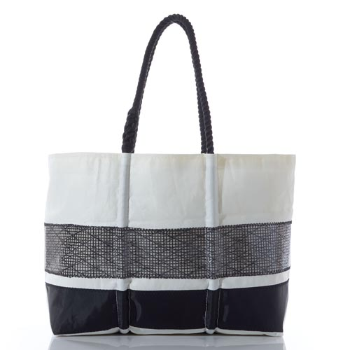Black High Performance Sail Stripe Tote