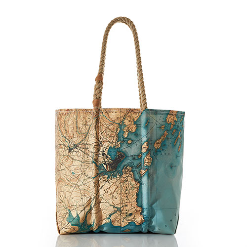 Antique Casco Bay Map Tote