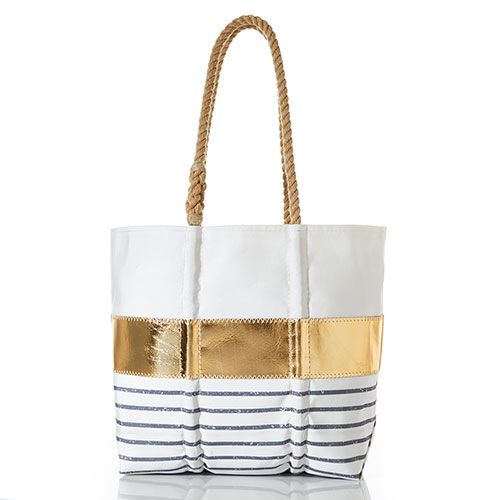 Grey Mariner Stripe Tote