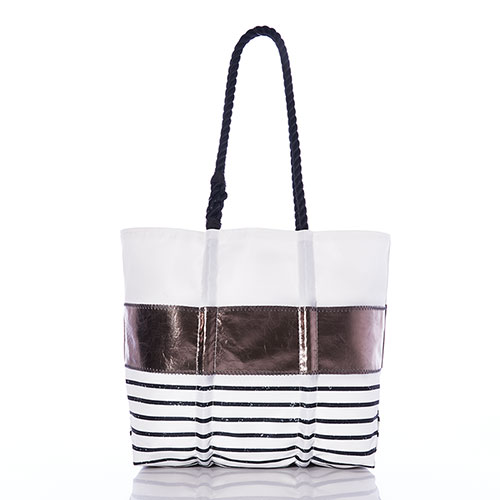 Pewter Mariner Stripe Tote