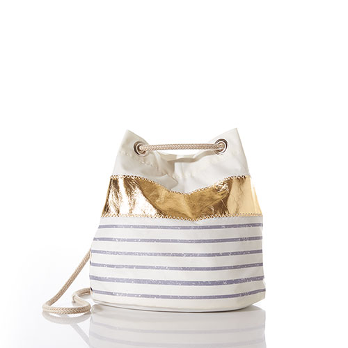 Grey Mariner Stripe Convertible Bucket Bag