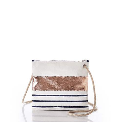 Rose Gold-on-Navy Mariner Stripe Slim Crossbody Bag