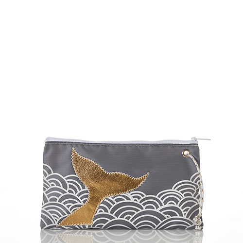 Gold Mermaid Tail and Waves Large Wristlet