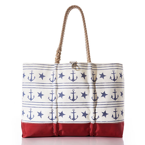 Sailor's Stripe and Star Ogunquit Beach Tote
