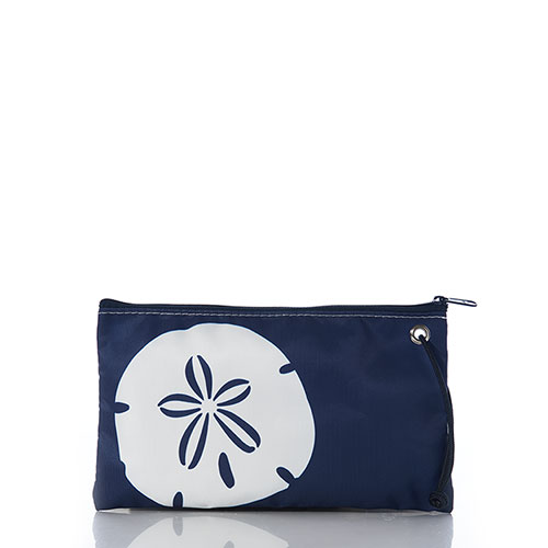 White on Navy Sand Dollar Large Wristlet