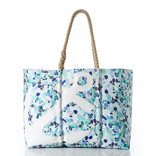 White Anchor on Sea Glass Print Tote