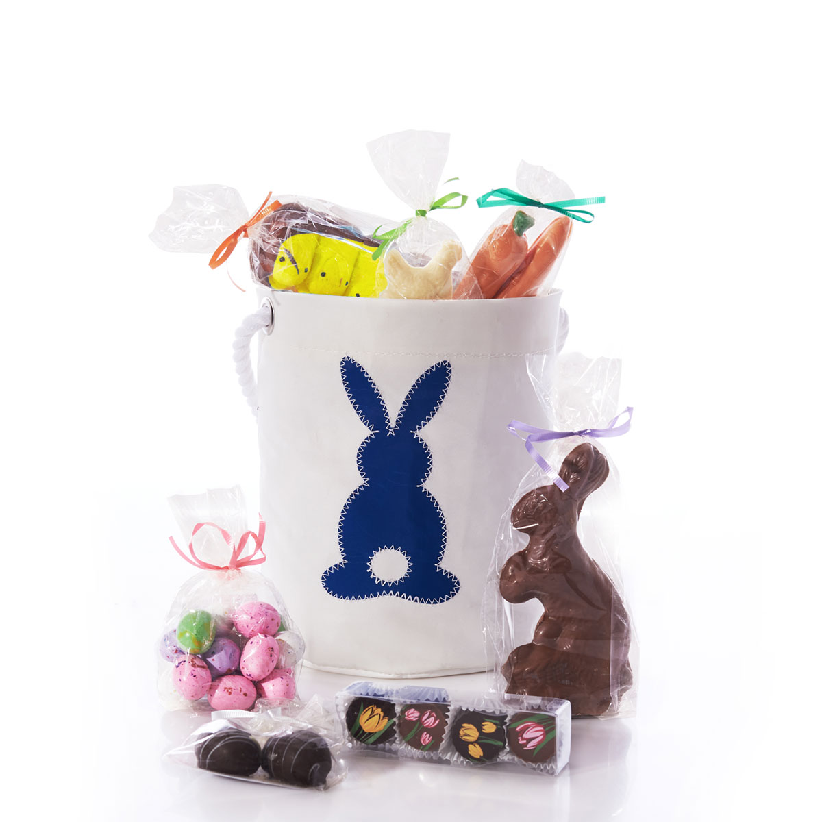 Blue Cottontail Chocolate-Filled Easter Bucket Bag