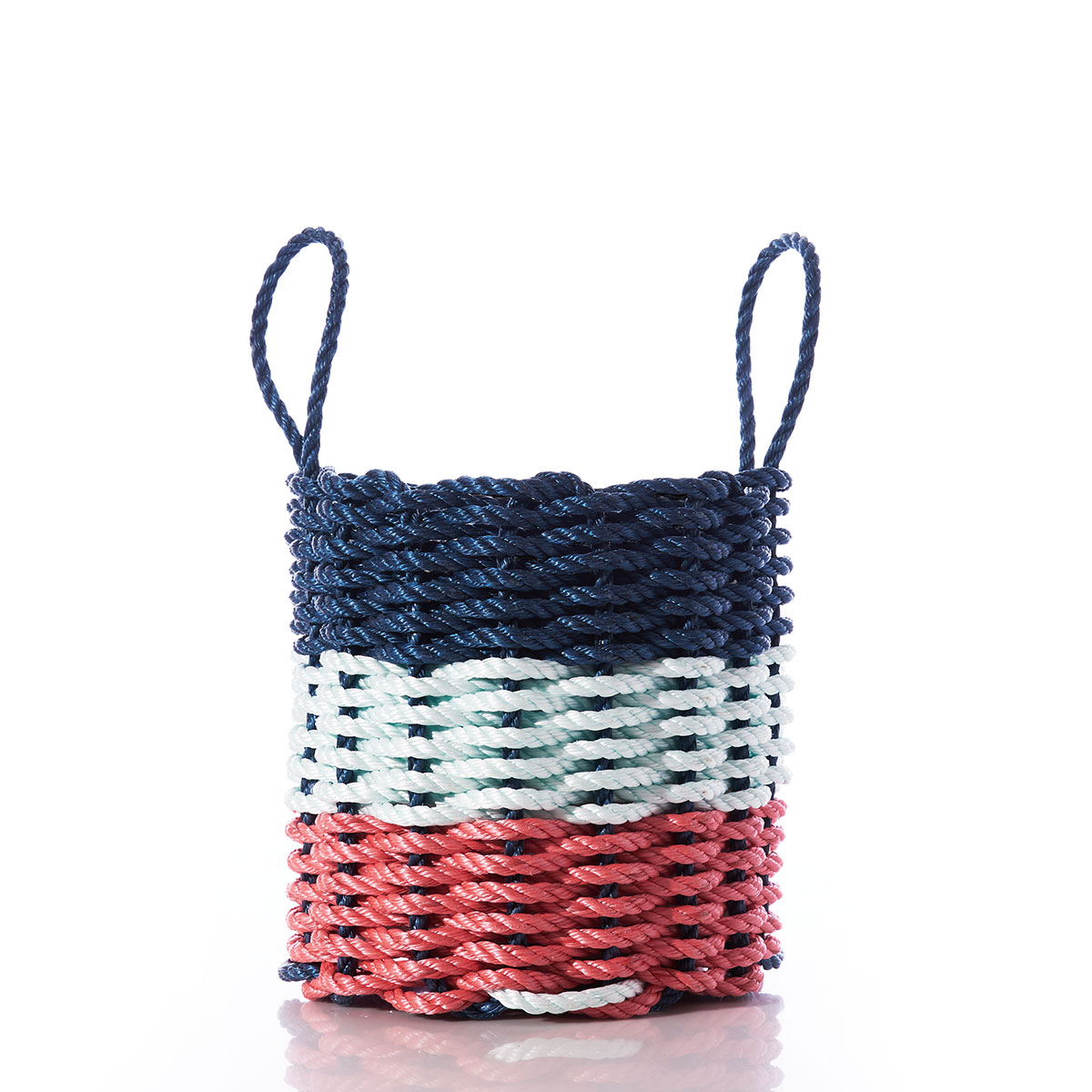 Fisherman Rope Basket - Navy, Sea Foam, & Red