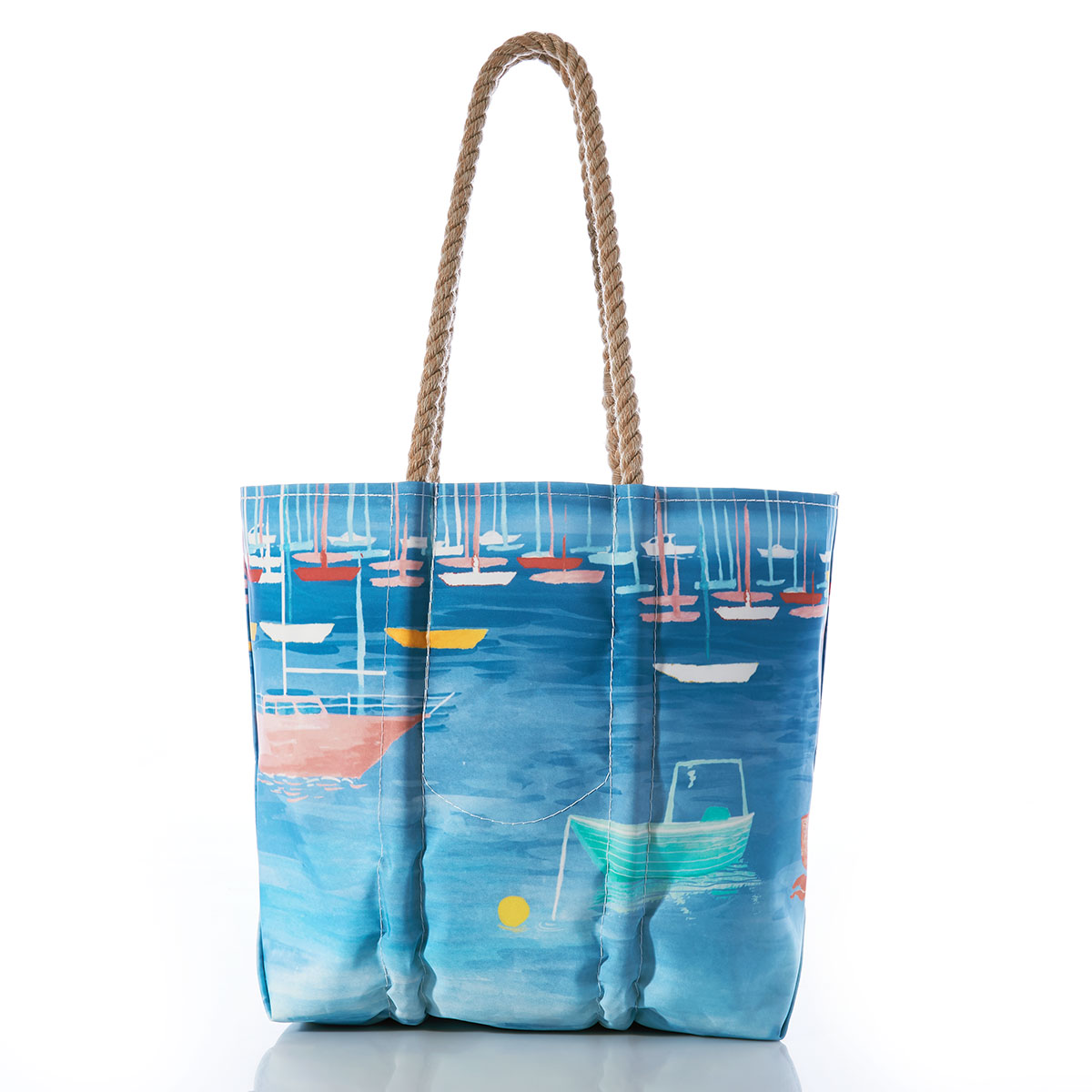 colorful sailboats and lobster boats bob in a blue ocean on a recycled sail cloth tote with hemp rope handles