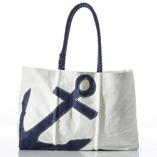 Navy Anchor Tote-Navy-Large