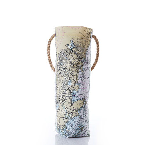Penobscot Bay Nautical Chart Wine Bag