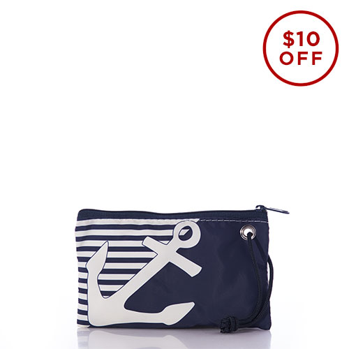 Anchor on Breton Stripe Wristlet
