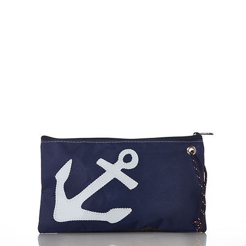 White-on-Navy Anchor Large Wristlet