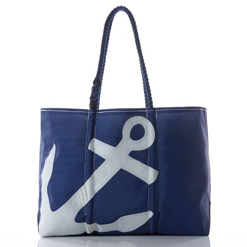 White-on-Navy Anchor Large Tote