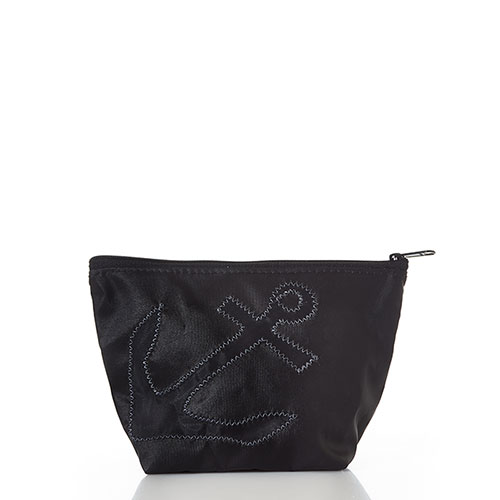 Black-on-Black Anchor Large Cosmetic Bag