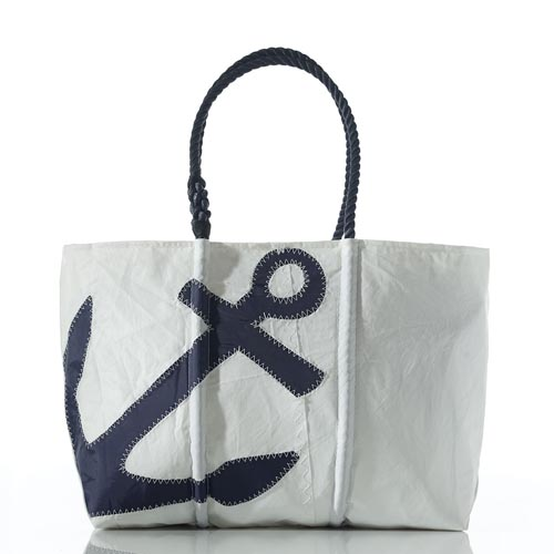 Navy Anchor Zip Top Tote