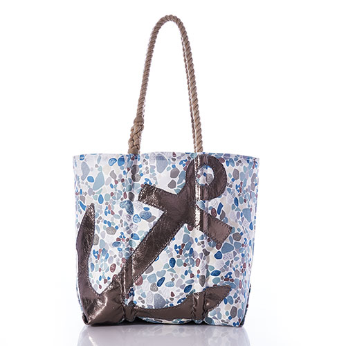 Pewter Anchor on Beach Rocks Tote