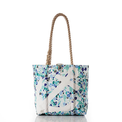 White Anchor on Sea Glass Print Handbag