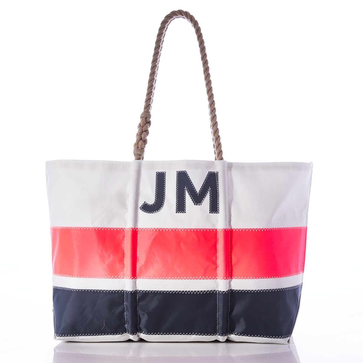 Custom Monogram Horizontal Stripe Tote