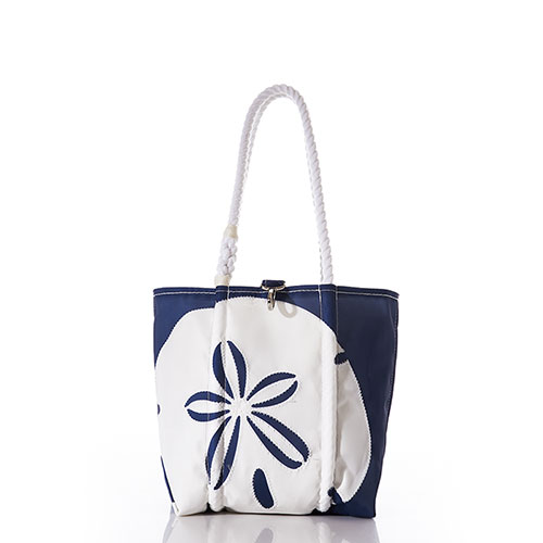 White on Navy Sand Dollar Handbag