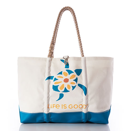 Sea Turtle Daisy Life is Good Ogunquit Beach Tote