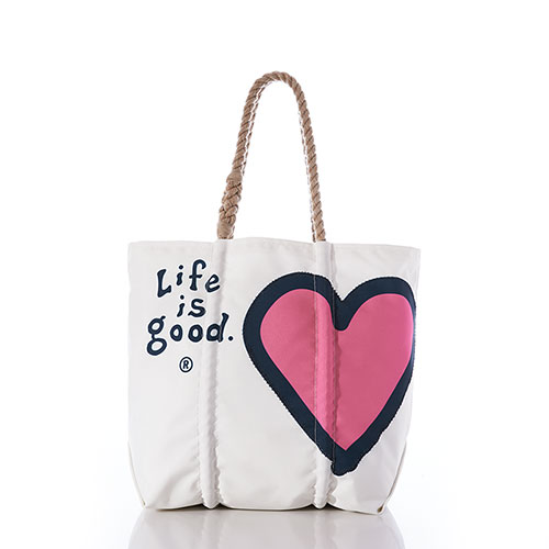 Life is Good Heart Tote
