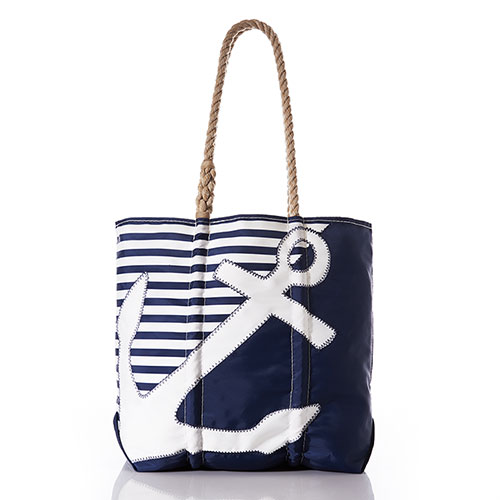 Breton Stripe White Anchor Tote