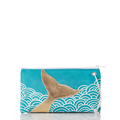 Gold Mermaid Tail on Aquamarine Waves Large Wristlet