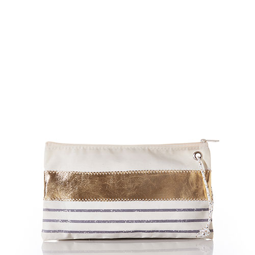 Grey Mariner Stripe Large Wristlet