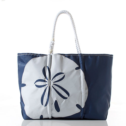 White on Navy Sand Dollar Tote